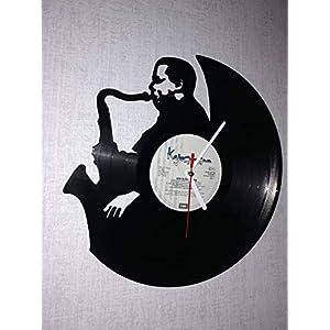 Upcycling Schallplatten-Wanduhr aus Vinyl - Motiv Jazz 1