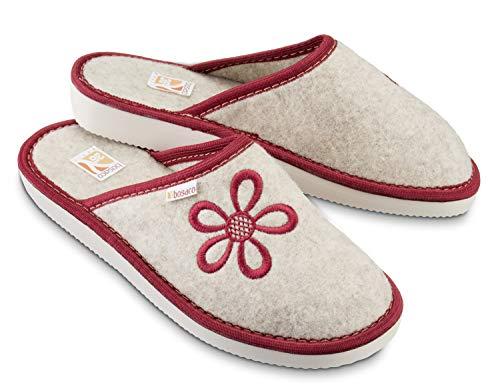 Bosaco Pantofole Ciabatte Donna Casa Pantofola Ciabatta Vera Feltro (37, Rosso)