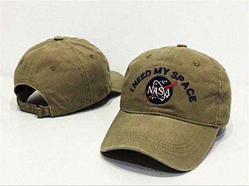 nasa-i-need-my-space-unisex-cotton-hats-adjustable-peaked-cap-khaki-one-size