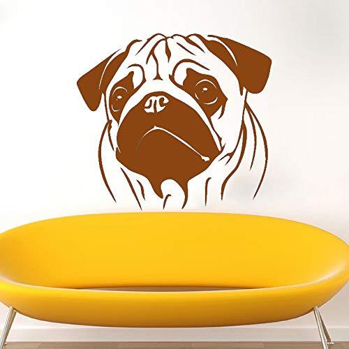 guijiumai Wandtattoo Vinyl Kunst Wohnkultur Aufkleber Mops Hund Tiere Veterinär Raumdekoration Haustiere Shop Salon Wandbild Poster Y 7 42X47 cm