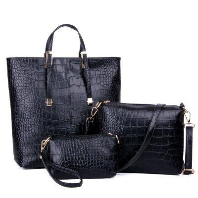 STONG 3 in 1 Sac à main en Cuir en cuir Modèle de crocodile Sacoche femme handbag (Noir)