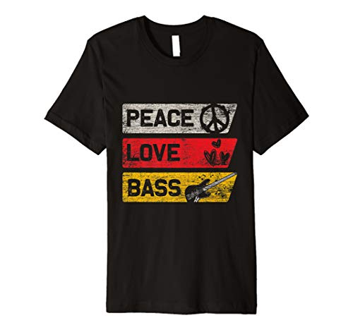 Bass Gitarre T-Shirt - Frieden Zeichen Liebe Musik Bassist