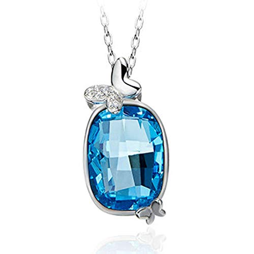 Lafeil Kette Silber Welt Kette Damen Valentinstag Halskette Mit Ovaler Form, Anhänger, Silber Blau Zirkonia
