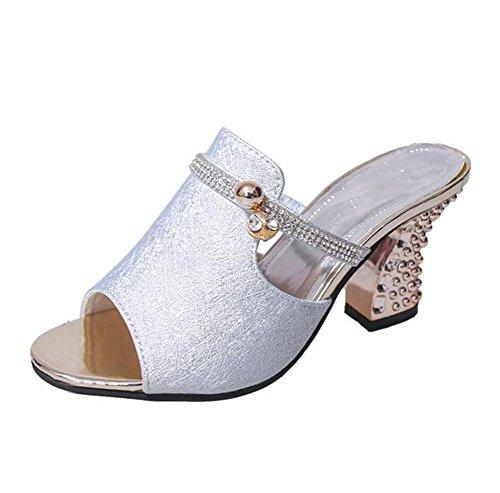LDMB Sommer Pumps Carving Metall High Heels Peep Toe Sandalen Strand Schuhe Silver