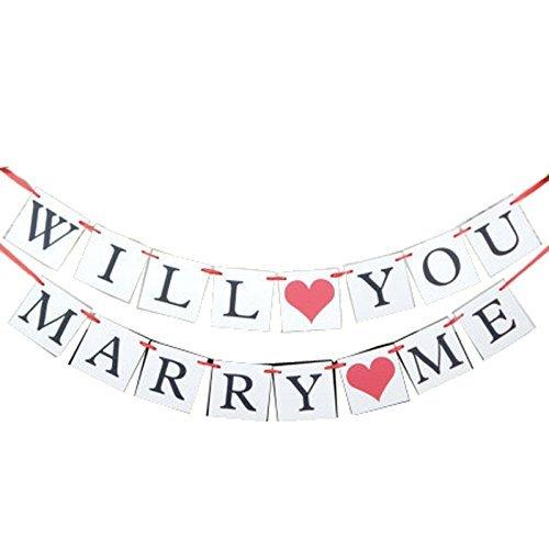 e-muse Will You Marry Me Willst Du Mich Heiraten Girlande Hinweisschilder für Henne Nacht, Hochzeit und Feiern Dekoration 12.5x12.5cm
