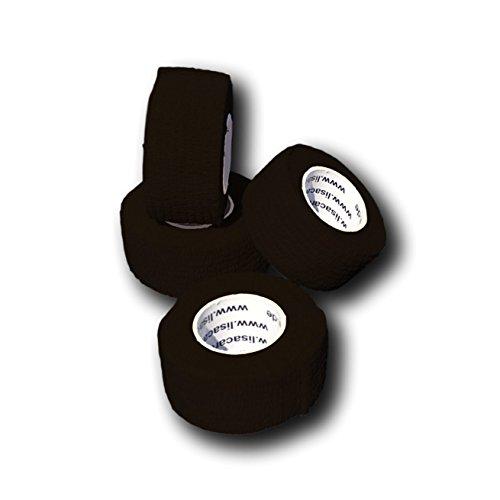 LisaCare Fingerpflaster selbsthaftend - elastisches, wasserfestes, staub- fett- und schmutzabweisendes Pflaster - SCHWARZ - 4 Rollen á 2,5cm x 4,5m (Stoff Bandagen 1 X 3)