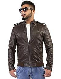BBGJ Brown color pu leather regular fit jacket for men