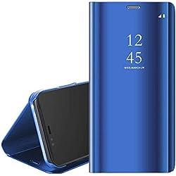 QC-EMART Étuis à Rabat pour Huawei P Smart 2019 Coque Portefeuille Folio Housse Miroir Transparent Clear View Style de Livre Antichoc Etui Protection Téléphone Portable Case Cover Bleu