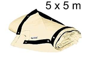 bâche de ring de boxe 5 x 5 m - coton résistant, blanc ivoire