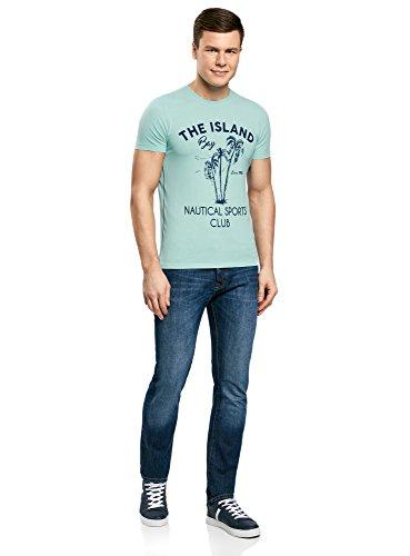 oodji Ultra Herren Baumwoll-T-Shirt mit Palmen-Druck Türkis (7379P)