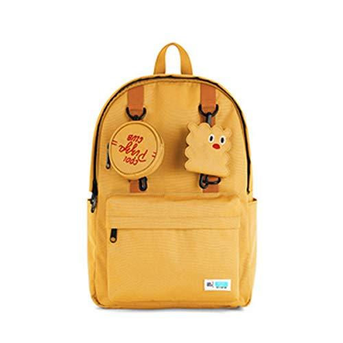 Wuhuizhenjingxiaobu Schultasche, Studentenrucksack, lässig Rucksack, verschleißfester wasserdichter Rucksack, geeignet für Gymnasiasten, Gymnasiasten, Büroangestellte, 30 * 14.5 * 39.5cm, gelb