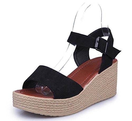 Frau Hang mit Sandalen High Heels Schuhe Fischkopf dicke Kruste Schuhe Muffin Student Black