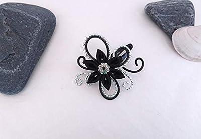 Pince à cheveux fleurs kanzashi tsumami noir/argenté