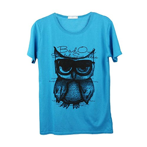Uomo T-Shirt,Amlaiworld Moda uomo ragazzo stampa gufo Tees cotone manica corta Blu