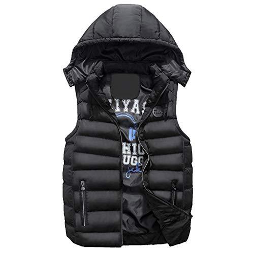 (Yvelands Herren Wintermantel Weste Jae doppelseitig tragen Baumwolle warme Kapuze die Weste Top(Schwarz2,CN-XL))