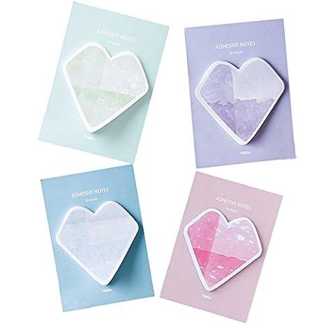 Sticky Notes Self-sticky Forme de cœur, Signet Marque-page Memo Bureau Repost Cadeau pour les étudiants enfants 120feuilles
