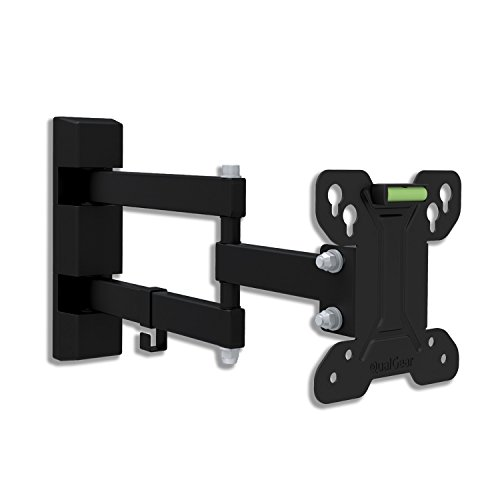 QualGear Universal Low Profile Full Motion Wall Mount for LED TV Upto 13 - 27-Inch - Black Articulating Wall Mount Bracket