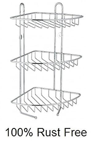 Generic NV _ 1001006323-efuk28< 1& 6323* 1> ER Unitstainless S Caddy en acier inoxydable à 3étages étagère de salle de bain d'angle de douche de meuble rangement 3étages Maïs