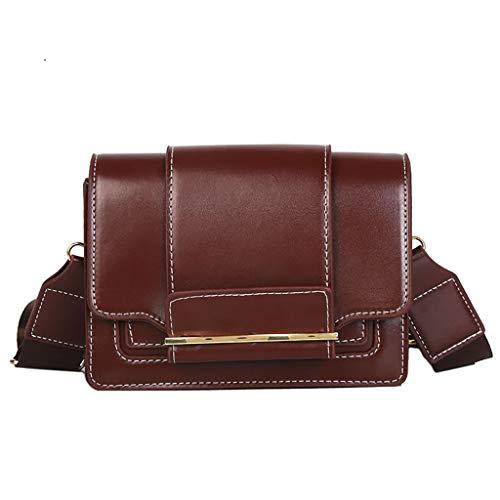 Lazzboy Schultertasche Damen Vintage Tasche Breiter Schultergurt Vielseitige Messenger Bag(Kaffee)