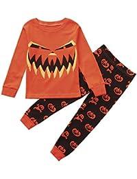 K-youth Ropa Niño Otoño Invierno Halloween Monstruo Impresión Camisas de Manga Larga Camisetas Blusas de Pijama + Pantalones 2pcs Ropa Trajes Conjunto Niño 2-8 Años