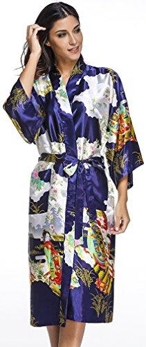 FLYCHEN Damen Morgenmantel aus Satin mit Schönheiten Mustern Kimonos Robe Langer Stil Dunkel Blau-4