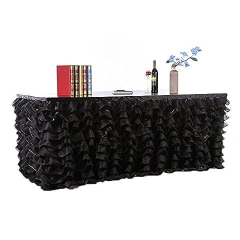 Lugii Cube faite à la main élégante en tulle Jupe de table pour fête, DE réunions, DE Mariage et décoration de la maison rose, noir