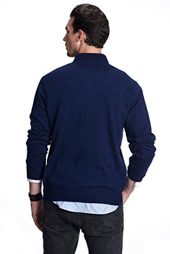 STATE CASHMERE Pullover aus 100% reinem Kaschmir mit halblangen Reißverschluss und Kragen für Herren Marine