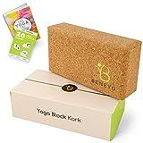beneyu - Yoga Block Kork - Made in EU | geruchsneutraler & abwaschbarer Yogablock aus angenehmem & robustem Naturkork | +eBook & PDF-Anleitung