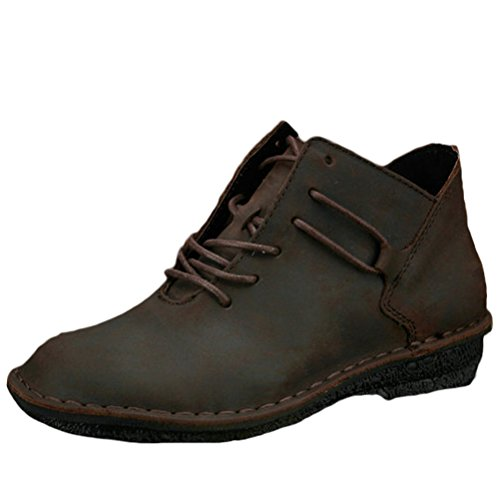 MatchLife Femme Cuir Lacets up Plates Boots Coffee Brown
