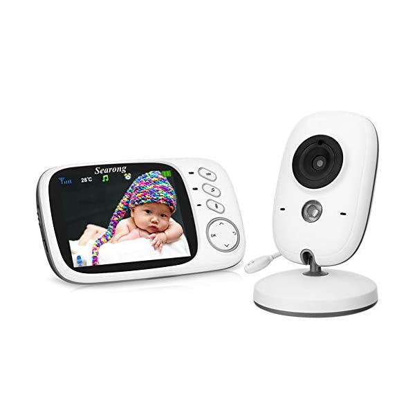 "Baby Monitor, Video Baby Monitor Wireless Baby Camera with Night Vision, Digital 2.4Ghz Baby Monitor with Two-Way Audio, Lullabies Temperature Searong 【3.2 inch LCD Display + 2.4GHz Wireless Transmission】Monitor with a large display screen to your baby's sleep with the most advanced High Quality Color LCD Display with Enhanced 2.4GHz FHSS Technology. Our premium video baby monitor provides high definition and stable streaming, secure interference-free connection and crystal clear digital vision and sound. 【VOX Auto Wake-up &Two Way Talk】VOX mode automatically switches the display to ""sleep mode"" to save battery power. The unit reactivates automatically as soon as it makes a noise in the room, especially when the baby is crying, the display will change from dark to light. Two way Talk, Two way talk audio function allows for a talk back communication so that care your baby with the sound of you. 【Long Connection Distance】Our baby monitor features long range between you and your baby's room.with the range up to 260 meters in open space,up to 50 meters indoor room. 1"
