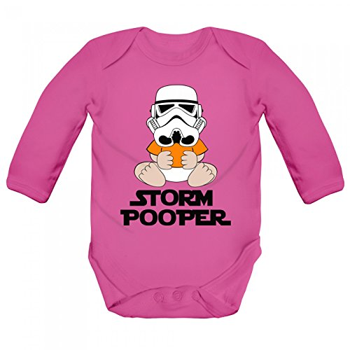 Pooper Babybody Liebe Science Fiction Familie Langarm Langärmliger Strampler, Farbe:Magenta (Fuchsia BZ30);Größe:0-3 Monate (Tv Film Kostüm Ideen)