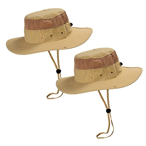 The Friendly Swede 2 Stück Outdoor Buschhüte mit Kinnband - Ideal auch als Safarihut, Sonnenhut, Gartenhut, Campinghut für Damen, Herren, Kinder (Khaki)