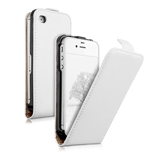 kwmobile Hülle für Apple iPhone 4 / 4S - Flip Case Handy Schutzhülle Kunstleder - Flipcover Cover Weiß