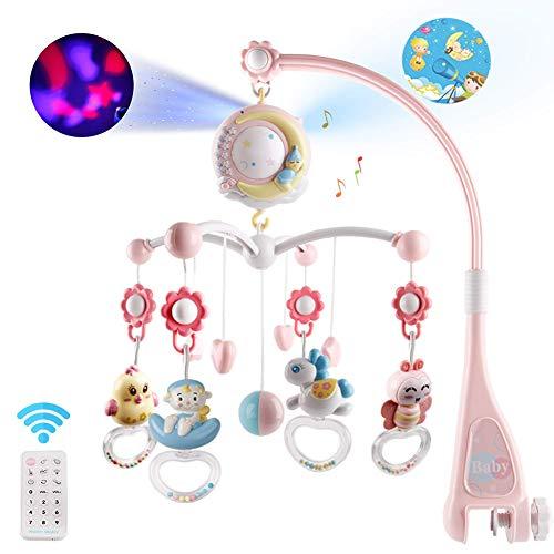 Moonvvin Baby Mobile für Babybetten mit Musik, Crib Mobile mit Nachtlicht und Projektor, Fernbedienung und Spielzeug zum Packen und Spielen (Rosa)