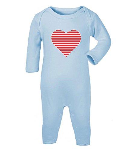 Green Turtle T-Shirts Süß -Gestreiftes Herz für den Valentinstag Baby Strampler Strampelanzug 3-6 Monate (60/66) Hellblau