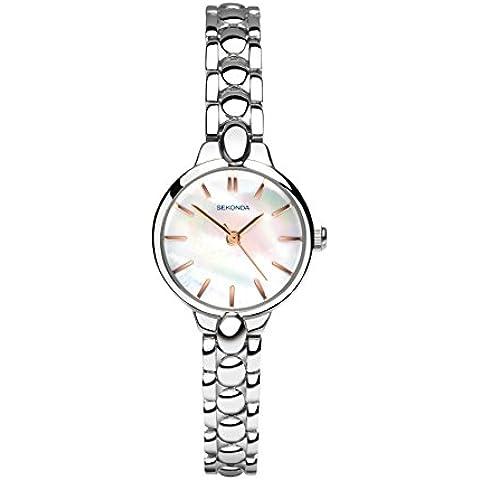 Orologio al quarzo da donna SEKONDA con quadrante in madreperla, Display analogico e braccialetto 2173,27 in lega, colore: