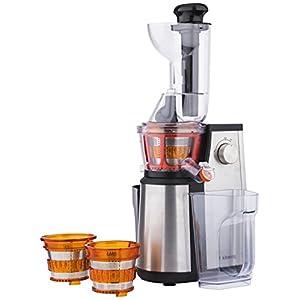 H.Koenig GSX22 Estrattore di succo, 3 Filtri per succo, Tubo Extra Large, 60 giri/min, Spremitura Lenta, Acciaio Inox, BPA Free 1L, 400W - 2020 -