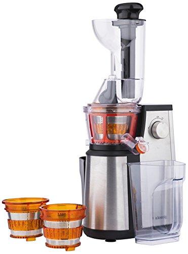 H.Koenig Vitalie GSX22 - Licuadora para fruta y verdura de prensado en frio, extractor de jugos vertical, 3 filtros para zumo, sorbete y smoothie, 400 W, 1 l .
