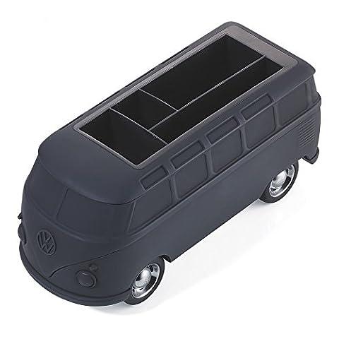 TROIKA VW Bulli — GAP06/BK (T1, Samba Bus, 1962) – Stifteköcher – Fach für Smartphones + Visitenkarten – Magnet – 5 Büroklammern – Rückziehmotor – glänzend – Official licensed product by