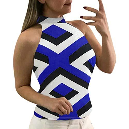 iHENGH Damen Top Bluse Bequem Lässig Mode T-Shirt Sommer Blusen Frauen reizender hängender Hals geometrischer Druck ärmellose Trägershirts Bluse(Blau, S)