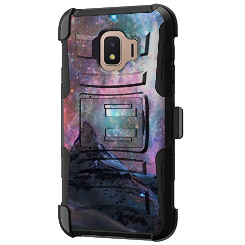 TurtleArmor - kompatibel mit Samsung Galaxy J2 Core Hülle, J2 Dash Case, Hyper Shock, passgenaue Armor Gürtelclip, Hybrid-Schutzhülle mit Ständer, Stars Galaxy Mountain (Cell Cricket Android Phones)