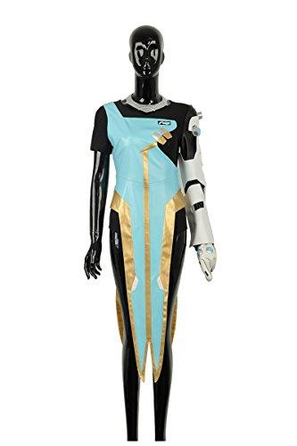 cosplayfly Erwachsene OW Symmetra Outfit Benutzerdefinierte Größe Cosplay Kostüm für Erwachsene mit mit Kopfbedeckungen