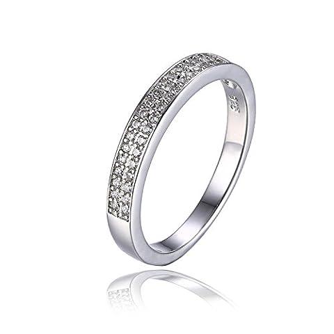 JewelryPalace Simple Bague Anneau Canal Femme en Argent Sterling 925 en Zircon Cubique de Synthèse CZ Taille