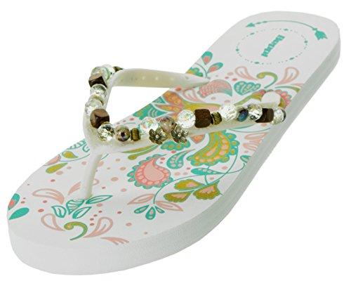 (Beppi Damen Zehentrenner Bunt Sommer-Schuhe | Freizeit-Slipper Frauen Sandalen | Perlen Hippie Flower Motiv | Größe 38)