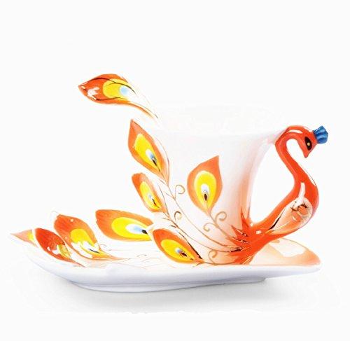 Collection Beaux-Arts de Chine Porcelaine Tea Cup and Saucer Coffee Cup Peacock thème romantique Présent Creative (Orange)