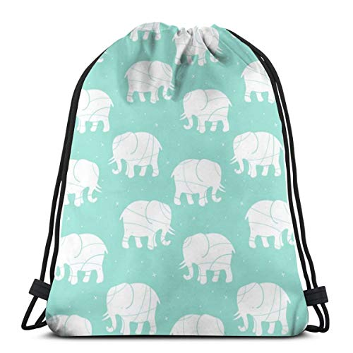 Samsonite-silhouette (best pillow Elephant Silhouette On Mint_8354 3D Print Drawstring Backpack Rucksack Shoulder Bags Gym Bag for Adult 16.9