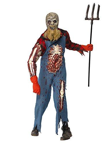 Kostüm Hinterwäldler - Zombie Hinterwäldler Halloween Kostüm blau rot L