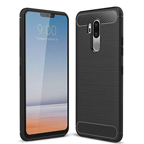 Toppix für LG G7 ThinQ, LG G7 Fit & LG G7 One Hülle, Handyhülle TPU Silikon Soft Case Stoßfest [Karbon Fiber Textur] Cover Schutzhülle (Schwarz)