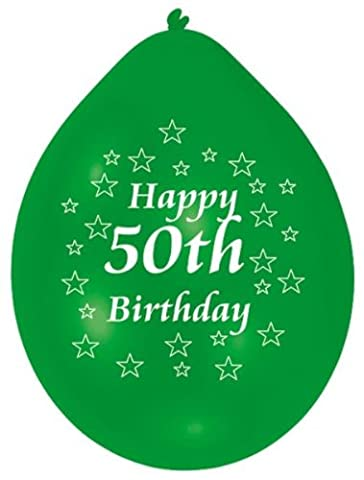 Amscan 22.8 cm Happy 50th Birthday 10 Latex Balloons (colors may vary)