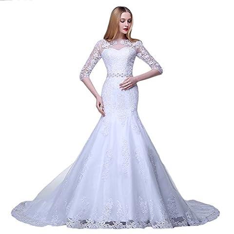 engerla femmes de Bateau Fleurs Dentelle Applique 1/2à manches Sirène robe de mariée - blanc - 42